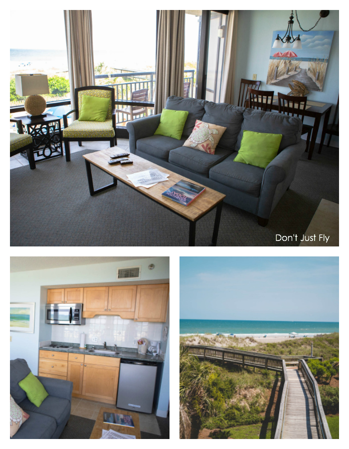 Inside peek of the suites at the Shell Island Resort on Wrightsville Beach, NC.