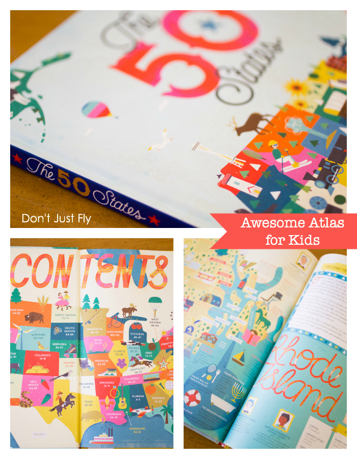 Beautiful travel books for kids and atlas of the United States