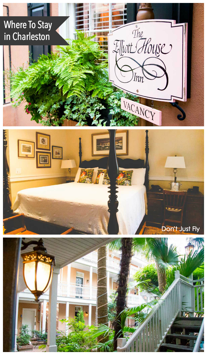 The Elliott House Inn is the most romantic hotel to stay during a quick weekend getaway to Charleston, SC. Gorgeous 4-poster beds and a lush garden patio make for a relaxing retreat.