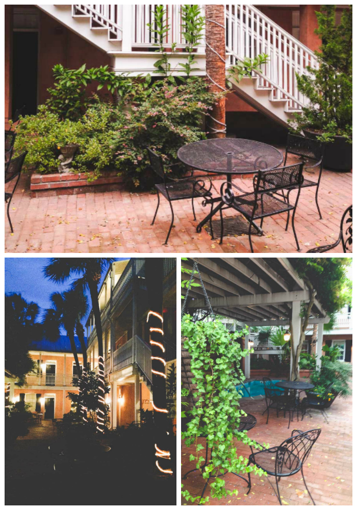 Romantic hot spots in Charleston, SC include cobblestone brick patios with wrought iron tables in lush garden nooks.
