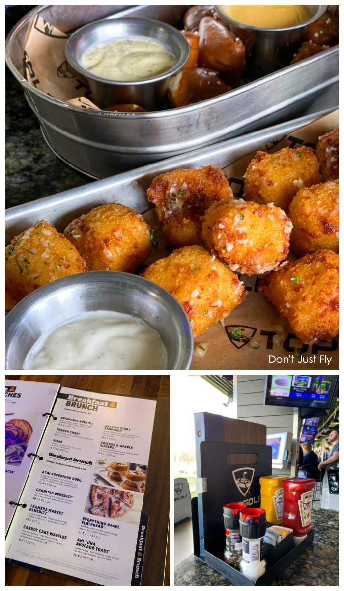Fried mac and cheese balls from TOPGOLF Charlotte. The entire bar menu is filled with amazingly delicious options.
