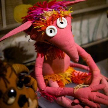 A red and pink puppet from the Labyrinth movie.
