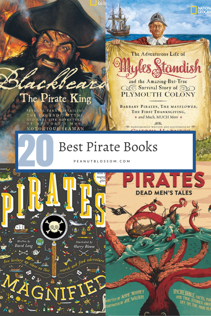 A collage of pirate book covers.