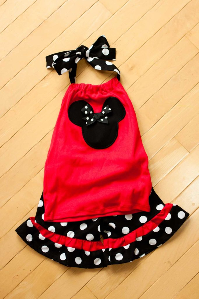 A handmade red tank with black Mickey Mouse ears and polka dots from Etsy.