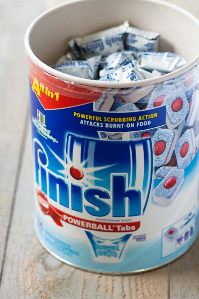 A Finish dishwasher tabs container from Costco.