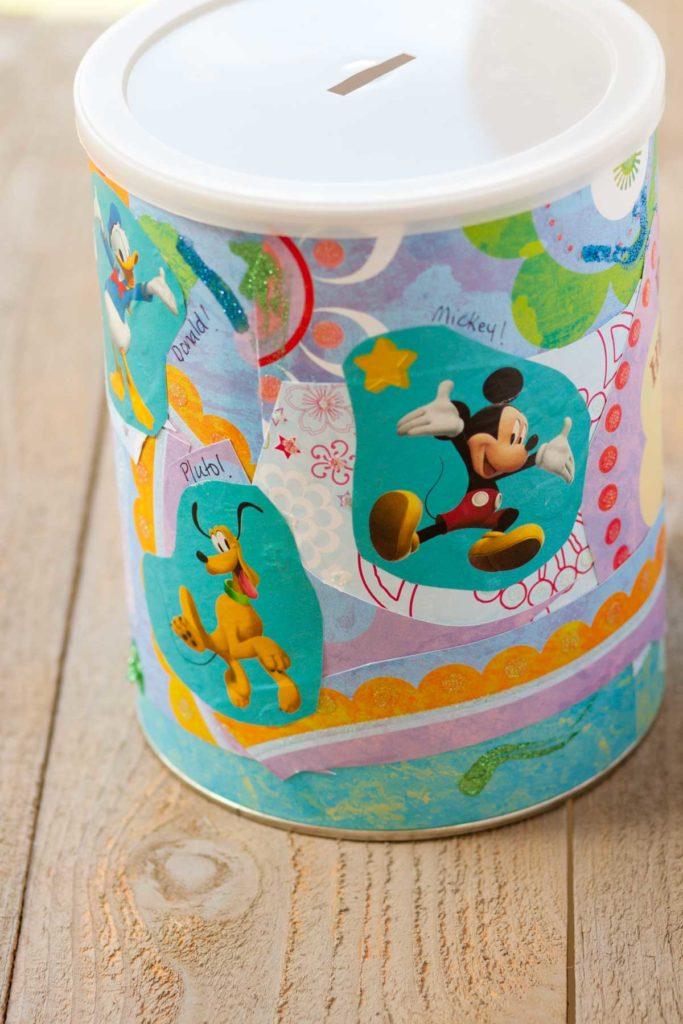 The back side of the Disney savings jar shows Mickey & Pluto.