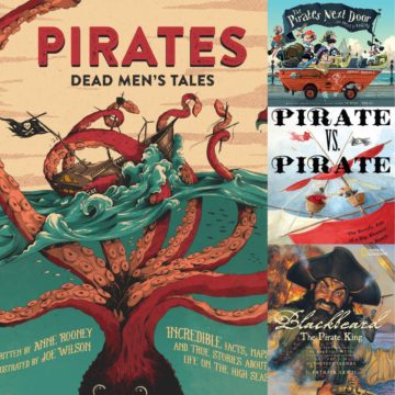 A collage of pirate themed books for kids.