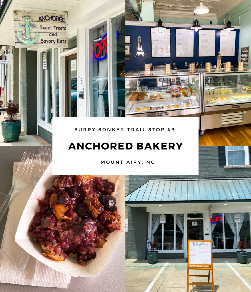 A collage of images that show the outside of Anchored Bakery in Mount Airy, NC.